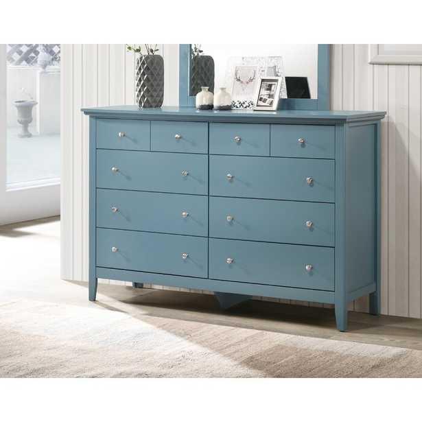 Sonja 8 Drawer Double Dresser, Teal Blue - Wayfair