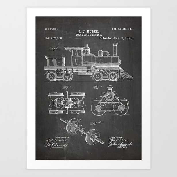 Train Locomotive Patent - Steam Train Art - Black Chalkboard Art Print - Society6