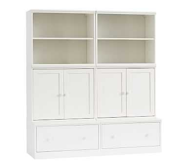 Cameron 2 Bookcase Cubbies, 2 Cabinets, 2 Drawer Bases, Simply White, UPS - Pottery Barn Kids
