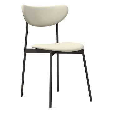 Modern Petal Fully Upholstered Dining Chair, Vegan Leather, Snow, Antique Bronze - West Elm