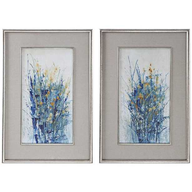 "Hudsonhill Foundry Indigo Florals 41 1/2""H Framed Wall Art Set of 2 - Hudsonhill Foundry"