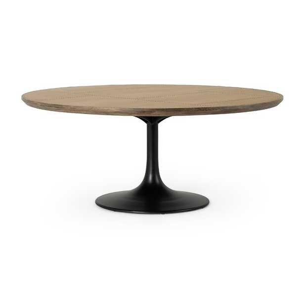 """Four Hands Powell 71"""" Dining Table-Eng Brown Oak Top Color: Bright Brass Clad/Light Burnt Oak - Perigold"""