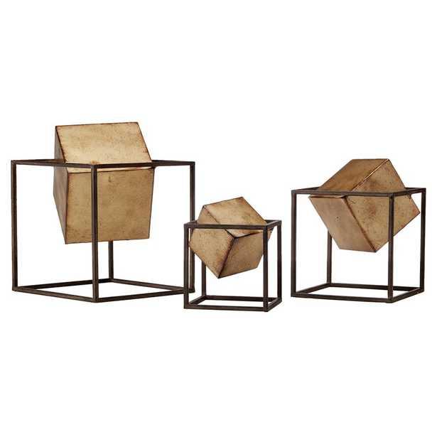 3 Piece Gold Cube Sculpture Set - Wayfair