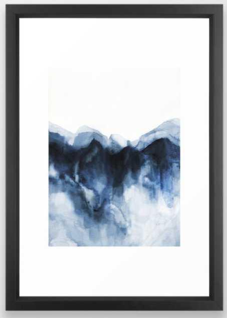 Abstract Indigo Mountains Framed Art Print - Society6