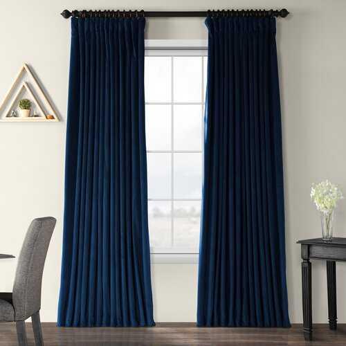 "Rhinehart Solid Max Blackout Thermal Tab Top Single Curtain Panel- MIDNIGHT BLUE 100"" x 108"" - Wayfair"