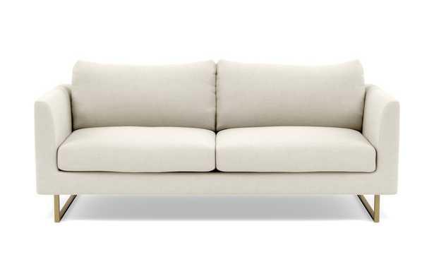 OWENS Fabric Sofa Chalk,Heathered Weave, Matte Brass Square Outline legs - Interior Define