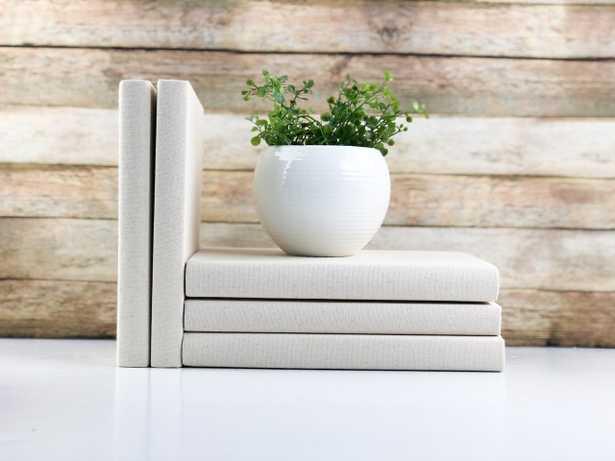 Decorative Books, Solid Cream, Set of 3 - Havenly Essentials