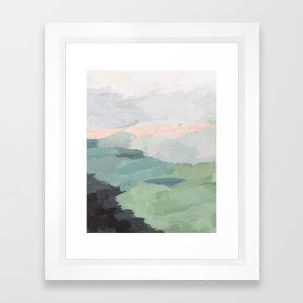 Seafoam Green Mint Black Blush Pink Abstract Nature Land Art Painting Framed Art Print - Society6
