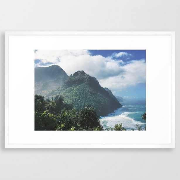Na Pali Coast Kauai Hawaii Framed Art Print - 26x38 - vector white - Society6