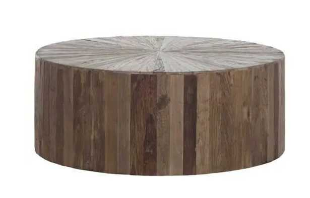 Cyrano Reclaimed Wood Round Drum Modern Eco Coffee Table - Kathy Kuo Home