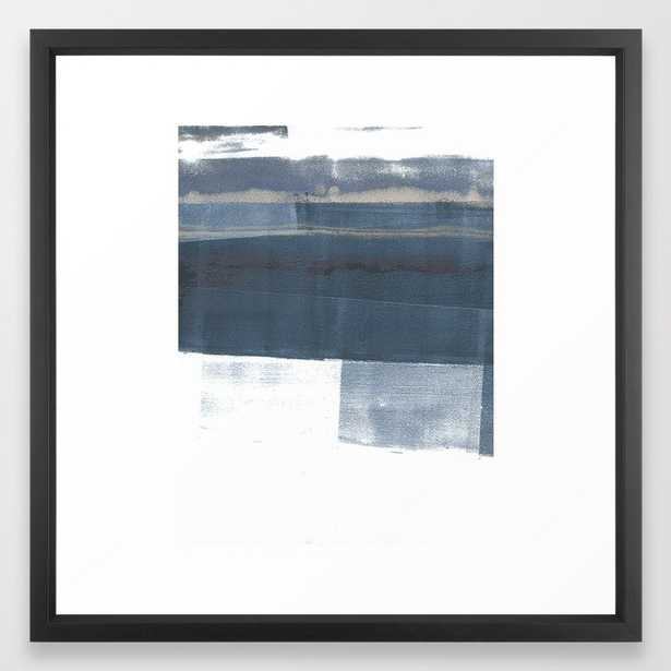 """Blue and White Minimalist Abstract Landscape Framed Art Print, 22"""" x 22"""", Vector black frame - Society6"""