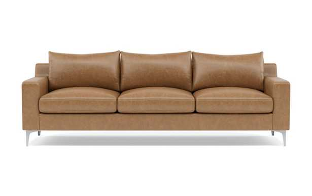Sloan Leather Sofa with Brown Palomino Leather and chrome plated legs - Interior Define