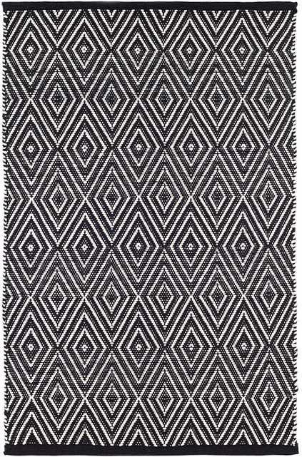 Diamond Black/Ivory Indoor/Outdoor Rug, 6' x 9' - Dash and Albert