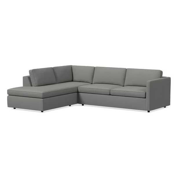 Harris Sectional Set 02: Right Arm Sleeper Sofa, Left Arm Terminal Chaise, Poly, Performance Washed Canvas, Feather Gray, - West Elm