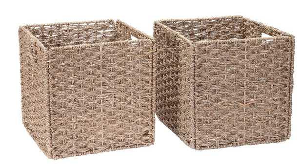 Square Wicker Storage Bin, set of 2 - Wayfair