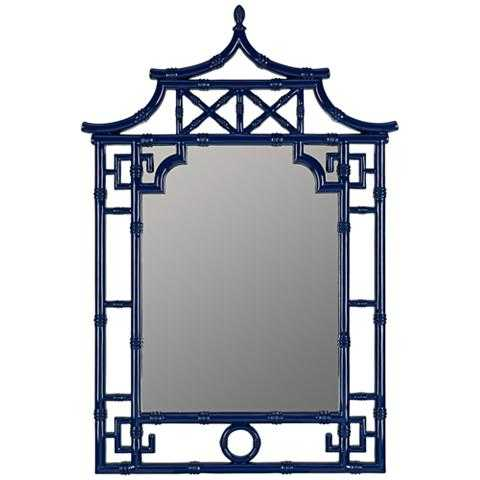 """Pinlo Cobalt Blue 28 1/4"""" x 42"""" Pagoda Wall Mirror - Style # 1G204 - Lamps Plus"""