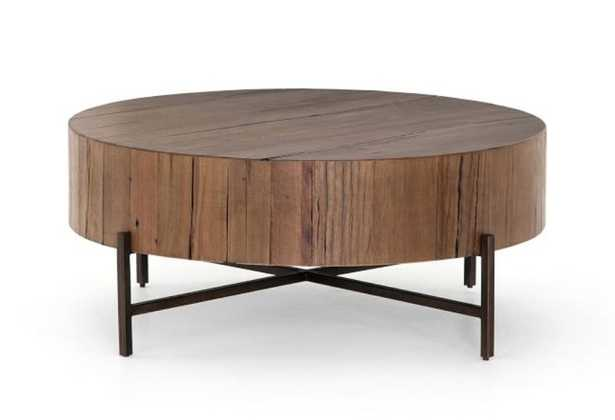 Fargo Round Coffee Table, Distressed Gray/Patina Copper - Pottery Barn
