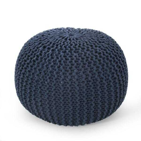 Moloney Navy Cotton Knitted Round Pouf - Home Depot