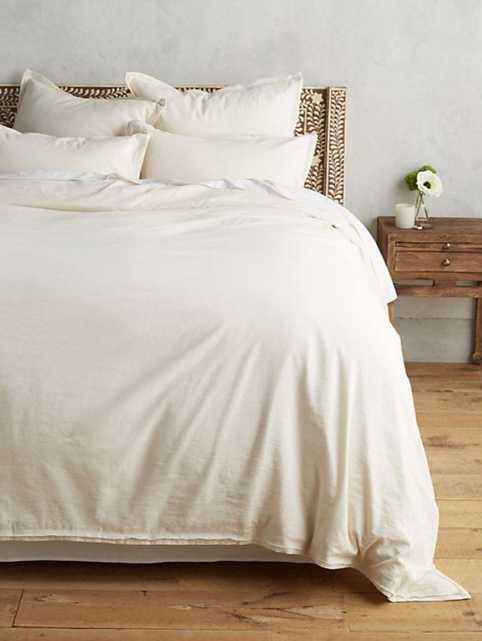 Relaxed Cotton-Linen Duvet Cover - Ivory - King - Anthropologie