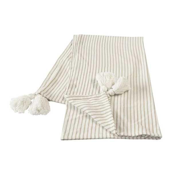 LR Home Nicobar Ivory / Beige Casual Striped Tassel Cotton Throw Blanket - Home Depot