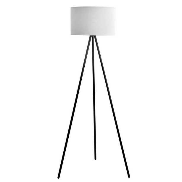 Catalina Lighting 61.25 in. Black Metal Tripod Floor Lamp with Linen Shade - Home Depot