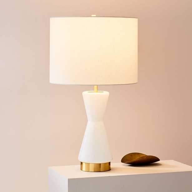 Metalized Glass Table Lamp + USB, Large, White, Antique Brass,Individual - West Elm