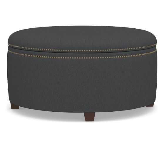 Tamsen Upholstered Round Storage Ottoman, Premium Performance Basketweave Charcoal - Pottery Barn