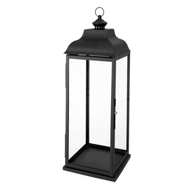 Hampton Bay 30 in. Traditional Black Steel Outdoor Patio Lantern - Home Depot