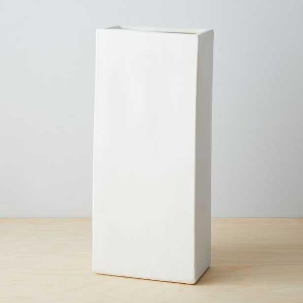 Pure White Ceramic Vase, Tall Rectangle, White - West Elm