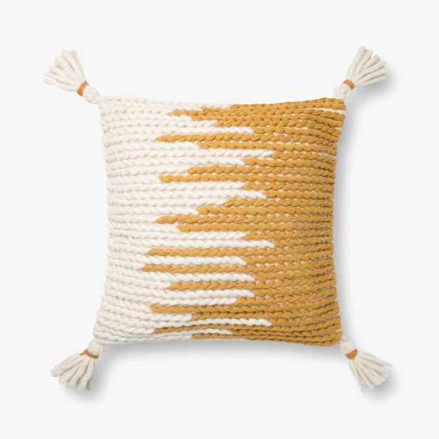 """Magnolia Home by Joanna Gaines PILLOWS P1146 NATURAL / GOLD 18"""" x 18"""" Cover w/Poly - Magnolia Home by Joana Gaines Crafted by Loloi Rugs"""