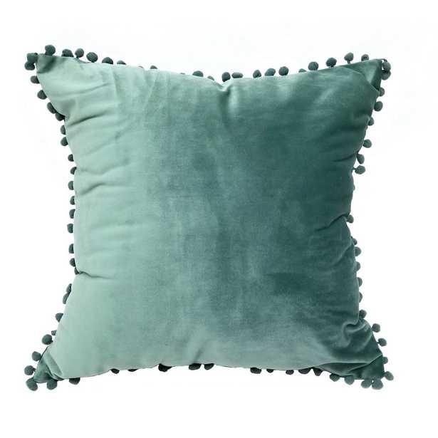 Pompom Dust Teal Standard Decorative Pillow - Home Depot