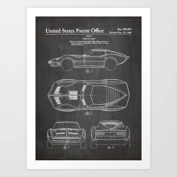 Classic Car Patent - American Car Art - Black Chalkboard Art Print - Society6