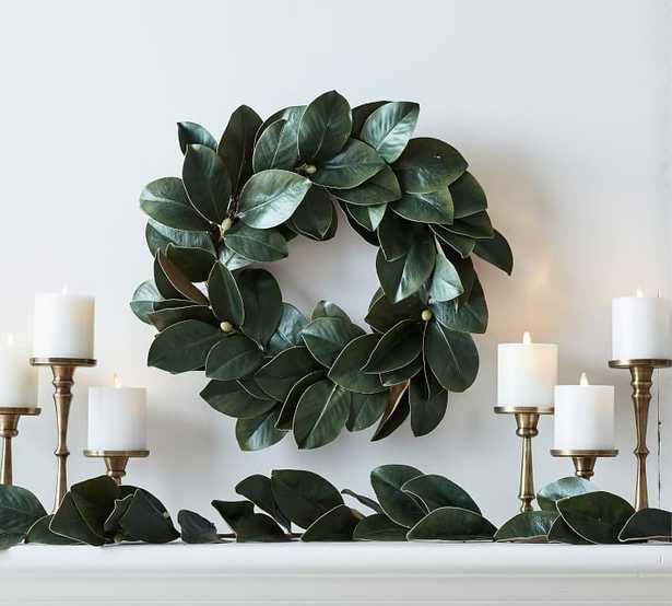 Faux Magnolia Collection, Green Multi - Wreath - Pottery Barn