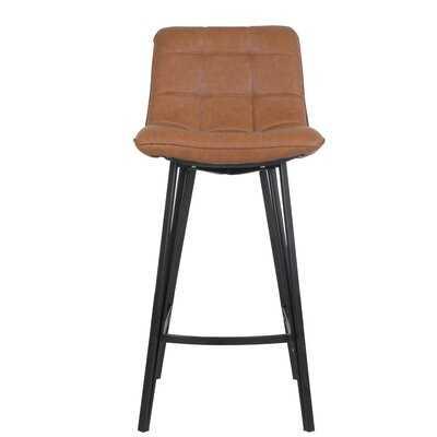 Nicolasa Leather Counter stools Set Of 2, PU Leather Upholstery - Wayfair