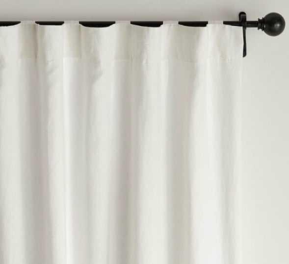 "Belgian Flax Linen Rod Pocket Blackout Curtain 50 X 108"", White - Pottery Barn"
