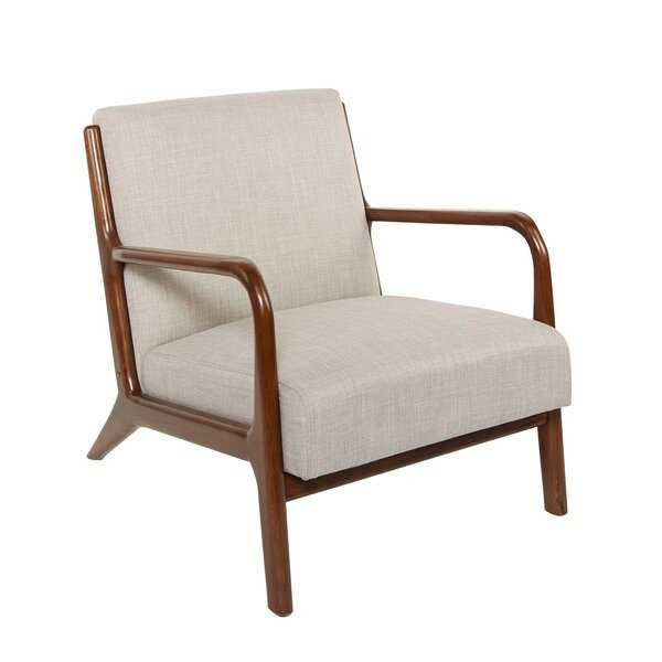 Blomkest Wood and Upholstered Mid Century Accent Chair - Wayfair