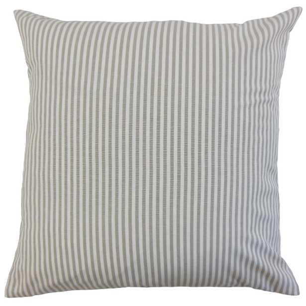 """Classic Stripe Pillow, Slate, 18"""" x 18"""" - Havenly Essentials"""
