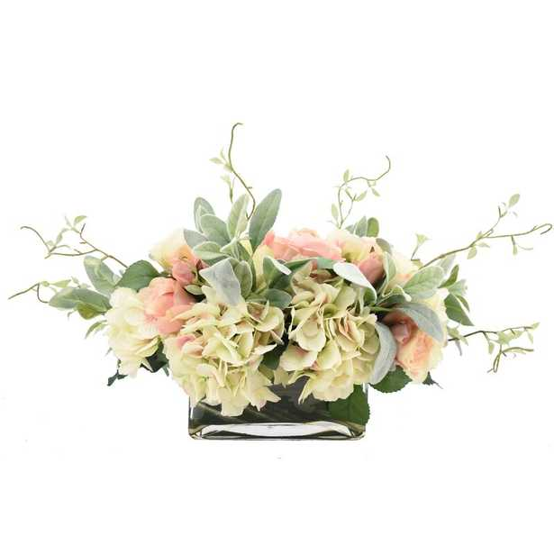 Rose and Hydrangea Floral Arrangement in Vase - Wayfair