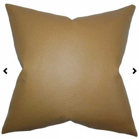 """24"""" Quintas Solid Pillow Khaki with Down Insert - Linen & Seam"""