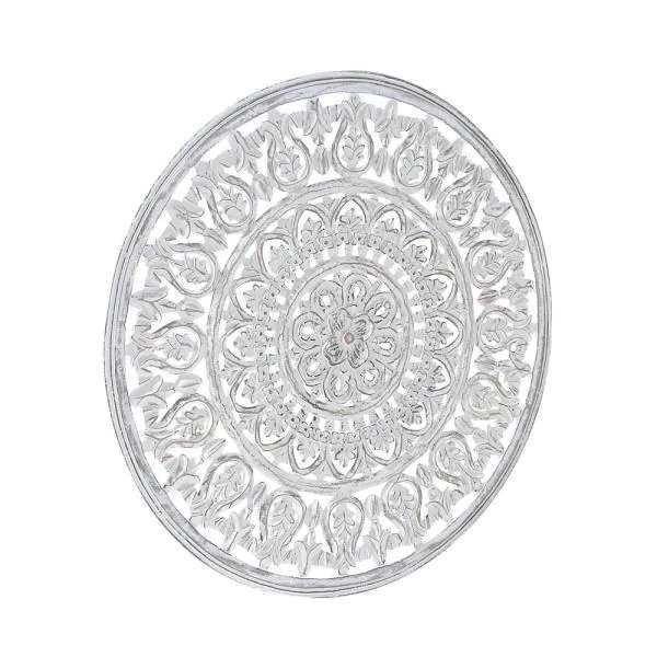 35 in. Carved Floral Design Round Wooden Wall Art - Home Depot