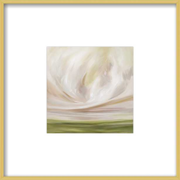 """Peach Glory - 8""""x8"""" Contemporary - Frosted Gold Metal - with matte - Artfully Walls"""