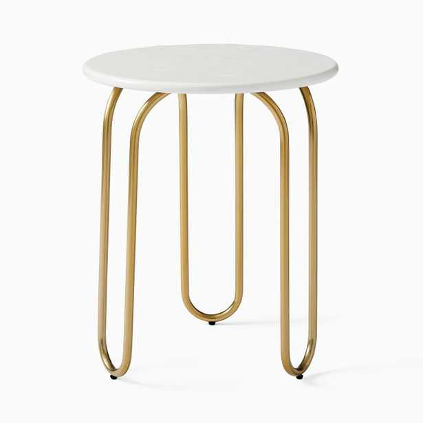Cecile Side Table, Oyster, Antique Brass - West Elm