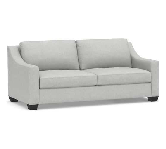 "York Slope Upholstered Sofa 80"", Down Blend Wrapped Cushions, Basketweave Slub Ash - Pottery Barn"
