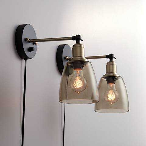 Morni Painted and Antique Brass Plug-In Set of Wall Lamps 2 - Lamps Plus