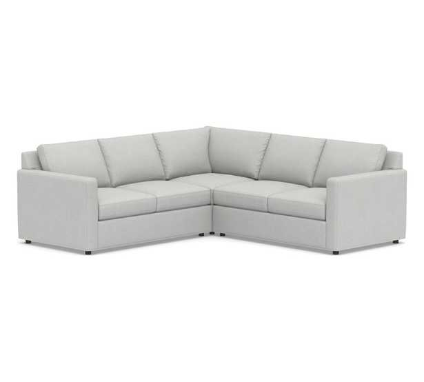 Sanford Square Arm Upholstered 3-Piece L-Shaped Corner Sectional, Polyester Wrapped Cushions, Park Weave Ash - Pottery Barn