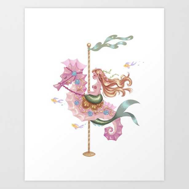 Mermaid Carousel - The Seahorse Art Print - Society6