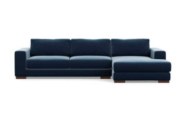 Henry Chaise Sectional with Sapphire Fabric and Oiled Walnut legs - Interior Define