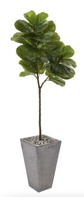 """70"""" Fiddle leaf artifical tree in cement planter - Fiddle + Bloom"""