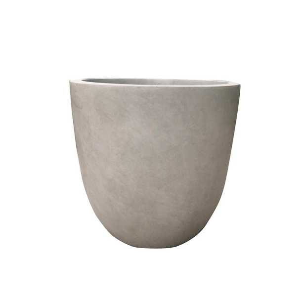 17 in. Tall Weathered Concrete Lightweight Durable Modern Round Outdoor Planter - Home Depot