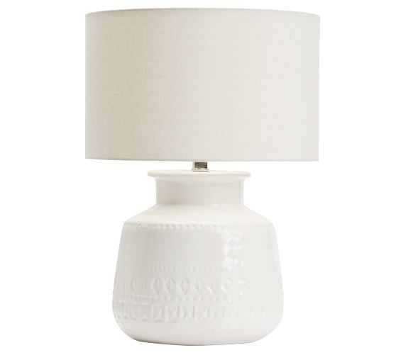 Jamie Young Emma Ceramic Round Table Lamp, White - Pottery Barn